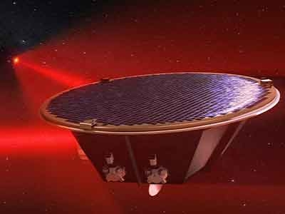Artist's depiction of the LISA satellite